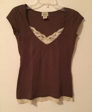 EYELASH COUTURE BROWN w/ LACE TRIM 100% COTTON SHORT SLEEVE TOP/BLOUSE- SMALL