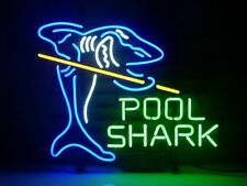 "New Pool Shark Billiards Game Room Neon Sign 17""x14"""