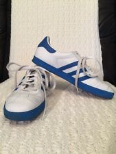 ADIDAS Gazelle White & Blue Leather Tennis Shoes 2007 Retro Size 6 Men's EUC!!