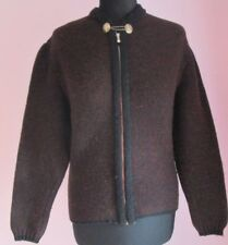 VTG Ladies Unbranded Burgundy Zipped Pure Wool Nordic Cardigan Size Medium (62e)