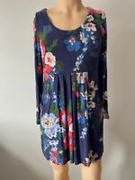 Joules Dress Tunic Top UK Size 12 Womens Ladies Blue Navy Floral Pockets Summer