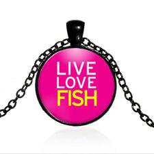 Live Love Fish Fishing Black Dome glass Photo Art Chain Pendant Necklace