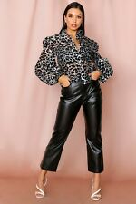 Mispap leopard print organza balloon sleeve shirtuk 18