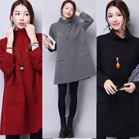 Winter Women Long Sleeve Dress Loose Jumper Sweater Cardigan Dress Tops Pullover