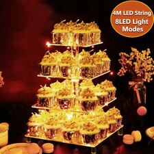 LED Lights 4 Tier Cupcake Stand Acrylic Display Stands Wedding Party Birthday
