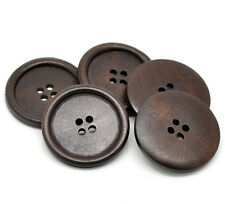 5 Wooden LARGE Dark Brown Rimmed Buttons 40mm