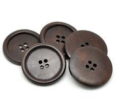 5 Botones Madera Grande Oscuro Marrón con Borde 40mm