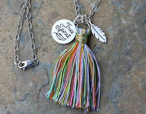Free Spirit + Feather Charm Sterling Silver Necklace- Rainbow Tassel- Boho Hippy