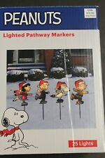 Set 4 Pathway Lights Christmas Snoopy Peanuts Gang Skating Outdoor Decoration