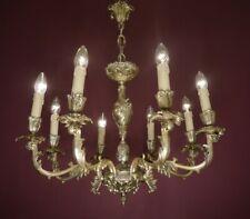 "OLD NICKEL SILVER FINISH CHANDELIER OLD CEILING LAMP 8 LIGHTS LIVING ROOM Ø 26"""