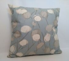 "Blue And White Circular Flower Design Fabric Cushion Covers 16"" X 16"""