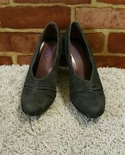 INDIGO By Clarks Women's CHARCOAL GRAY  Nubuck Suede Heels Shoes Size 6M ~1912~