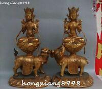"""18"""" Chinese Bronze Wenshu Manjushri Samantabhadra Buddha Ride Beast Statue Pair"""