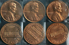 1972 P & D & S Lincoln Cent 3-Coin from US Mint Set UNC Cello One Cent 3-Coins