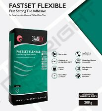 GREY FLEXIBLE FAST SET TILE ADHESIVE  WALL AND FLOOR TILES - DEBRIGHT-LEICESTER