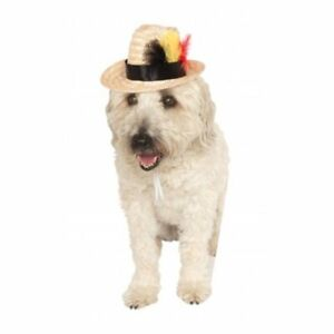 Rubie's Pet Feathered Straw Fedora Dog Hat- Free Shipping