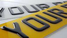 PAIR of 3D Black Domed Resin Raised Gel Car Number Plates Road Legal Front Back