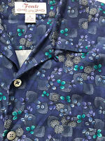 VTG Fonte Sz L Blue Patterned Hawaiian Silk Blend Camp Shirt Loop Collar