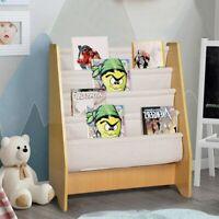 4 Tier Toddler Sling Book Shelf Bookcase Rack Storage Tidy Bedroom PlayroomStudy