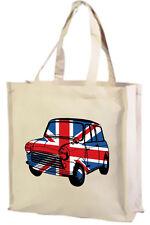 Best of British, Union Jack Mini Car Cotton Shopping Bag - Choice of Colours.