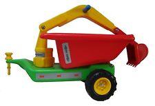 Anhänger mit Baggerarm für Babyrutscher Traktor grün - Kinderfahrzeug Rutscher
