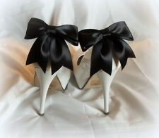 Shoe Clips Black Satin Bows, Wedding Shoe CLips, Bridal SHoe CLips, Black SHoe