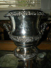 Antique Sheffield Silver On Copper Ornate Wine Cooler With Liner
