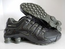 MEN'S NIKE SHOX NZ BLACK-CARGO KHAKI GREEN PATENT LEATHER! SZ 9 [378341-045]