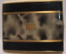Old Vintage Metal Cigarette Case w/ Leopard Cat Print & Gold Tone