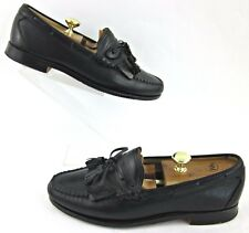 Footjoy By Alden Moc Toe Kiltie Tassel Loafers Black Leather Sz 10D Made In USA