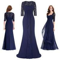 Women Chiffon Formal Evening Gown Wedding Party Cocktail Dress Long Maxi UK 4~18