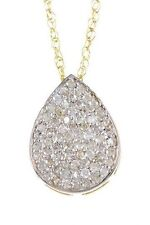 14k Gold Pave Diamond Pear Shape Necklace, 14k Gold Necklace, Diamond Necklace