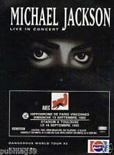 Publicité advertising 1992 Concert Michael Jackson Hippodrome Paris Vincennes