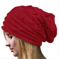 Para Mujer para Hombre Cálida De Invierno De Punto Esquí Beanie Slouchy Slouch Sombrero Rojo