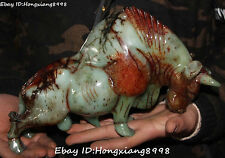 """11"""" Rare Chinese Old Jade Hand Carving Ox Oxen Cattle Niu Cow Bull Animal Statue"""