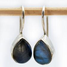 Labradorite Earrings Sterling Silver 925 Earrings Drop Modern Cabochon HV