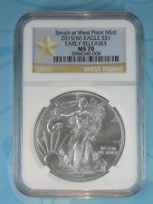 2015 (W) NGC MS70 SILVER EAGLE STRUCK AT WEST POINT EARLY RELEASES STAR LABEL