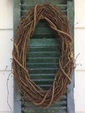 "New Primitive Rustic Natural Plain Twig Vine Grapevine Oval Wreath 21"" Handmade"