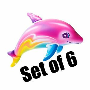 (Set Of 6) 36'' Rainbow Dolphin Inflatable - Inflate Blow Toy Party Decoration