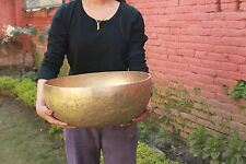 16'' INCH VERY LARGE HAND BEATEN NEPAL TIBETAN SINGING BOWL WITH AMAZING SOUNDS.