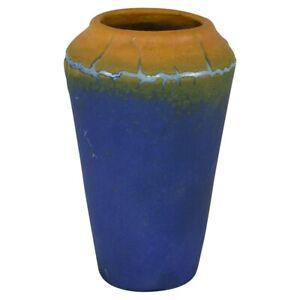 Teco Pottery Blue Yellow Experimental Test Glaze Vase