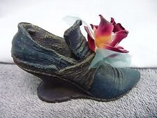 Ceramic Navy Blue Shoe Figurine With Red Flower Blue Ribbon