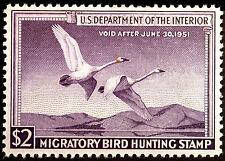 #RW17 $2 Violet Trumpeter Swans Duck Hunting 1950 VF-XF MNH OG Choice