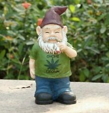 Gnome Grown Male Smoking Weed Figurine - Life Like Figurine Statue Home / Garden