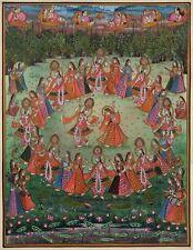 Krishna Radha Rasa Lila Art Handmade Indian Religious Hindu Folk Decor Painting