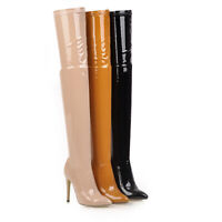Women's Super High Heels Party Pointed Toe Shoes Patent Leather Thigh Boots Size