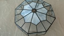 Flush Ceiling Mount Octagon Brass Finish Glass Mound