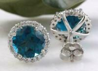 4.00Ct Round Cut London Blue Topaz Stud Earrings Push Back 14k White Gold Finish