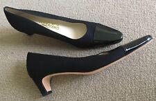 Ferragamo Salvatore Black Heels Cotton/patent Brand New