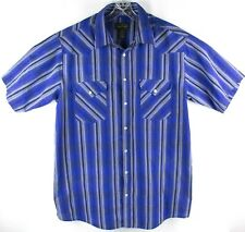 Vintage HIGH NOON Mens Western Pearl Snap Button Front Shirt BLUE SIZE XL